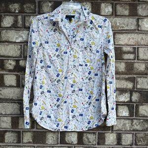 ♣J.Crew Paris half button down shirt size 0